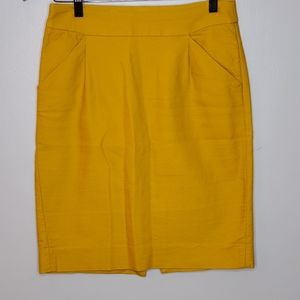 J Crew Pencil Skirt Canary Yellow slit pockets